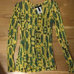 BCBGMaxazria Yellow + Blue Printed Shirt Size xs